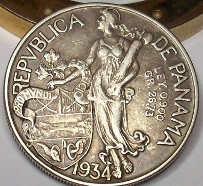 1934 90% Silver Excellent Low Mintage Only 225K Panama Vn One Balboa .77 Oz Coin