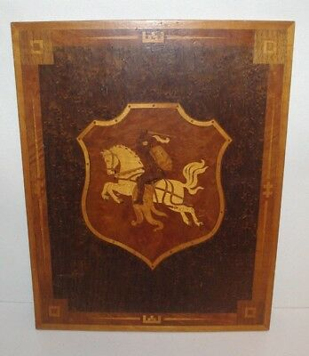 1948 Family Crest Coat Of Arms Inlaid Marquetry Wood 12X10