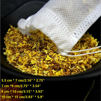 100 PCS Non-woven Fabric Drawstring Reusable Bags Packing Bath Soap Herbs Tea AU