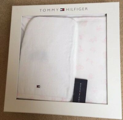 Tommy Hilfiger Baby Girl Bath Set (Towel Wash Cloth) Gorgeous Baby Shower Gift
