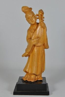 Fine Old China Chinese Carved Hardwood Wood Maiden Beauty Sculpture Scholar Art