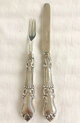 Antique Childs Knife & Fork Solid Silver Edinburgh 1864