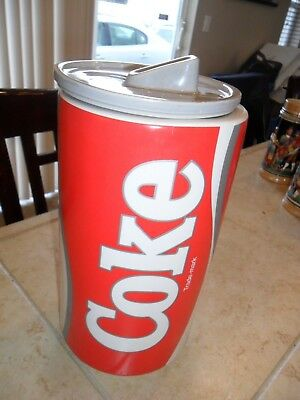 LOVELY RARE McCOY CERAMIC COCA COLA COKE CAN CANNISTER COOKIE JAR W/LID RED/WHIT