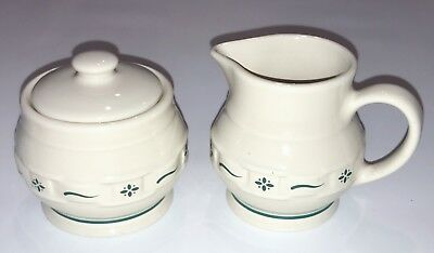 LONGABERGER POTTERY SUGAR & CREAM SERVICE GREEN Woven Tradition HERITAGE