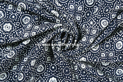 "43/"" Wide Black Rayon Fabric Tribal Printed Sew Crafting Dress Material By Metre"