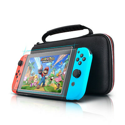 Nintendo Switch Carry Storage Case Travel Bag+Screen Protector TEMPERED GLASS UK