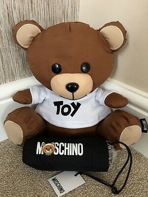 Moschino Black Mini Compact Umbrella With Cover & Toy Teddy Bear Storage Bnwt