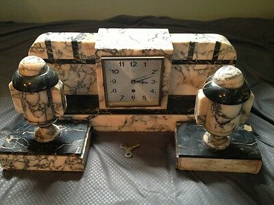 Antique Art Deco French Bronze and Marble clock And  Garnishers One Pair