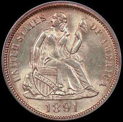 1891 10c Liberty Seated Dime PCGS MS64