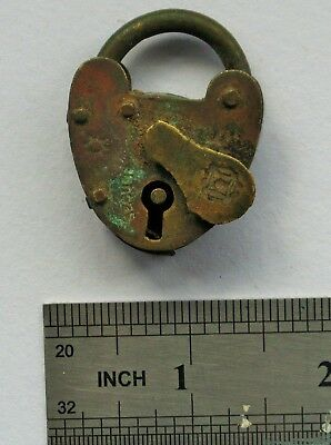 Antique Brass Heart Shape Padlock SECURE With Rose Stamp on Key Hole Cover.