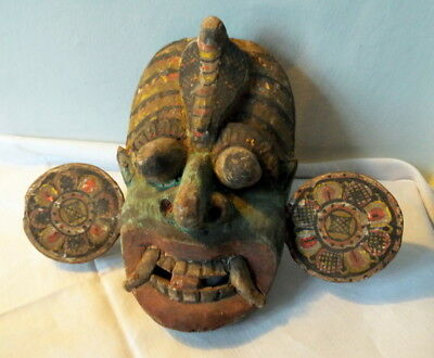 Wonderful antique Tribal Mask  Sri Lanka Tovil or Kolam Mask RARE