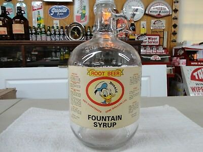 Donald Duck Disney Figure Paper Label Soda Fountain Syrup Jug Salem, Mass.r/beer