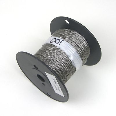"""100ft - Cable Railing T316 Stainless Steel Wire Rope Cable Strand, 1/8"""", 7x7"""