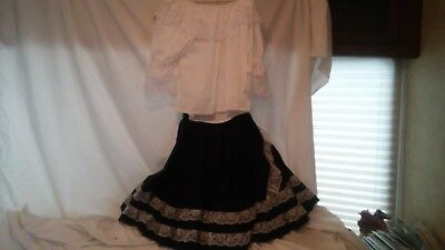 Square Dance Costume Outfit Pete Bettina Black Skirt & White Blouse Size Small