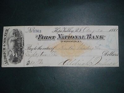 First National Bank of Hopkinton, R.I. Aug. 30, 1881. Hope Valley, R. I.