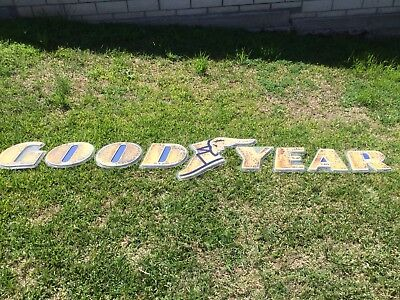 Vintage Goodyear Sign Original Wingfoot Letter Tires Gas Petroliana Oil Garage