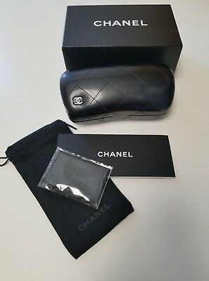 Chanel Sunglasses Box Case Leather Quilted Black