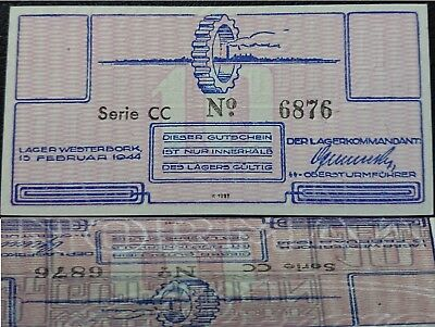 RARE Netherlands 10 cent 1944 Westerbork UNC  Large Watermark Judaica Lager Camp