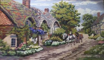 Vintage English Thatched Country Cottage & Horses Tapestry Stitched Picture