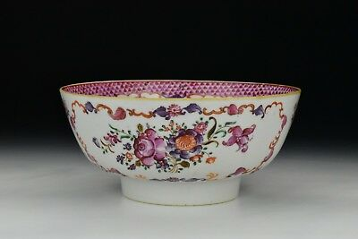 Antique 18th Century Chinese Famille Rose Porcelain Bowl Ruby Enamel Flowers