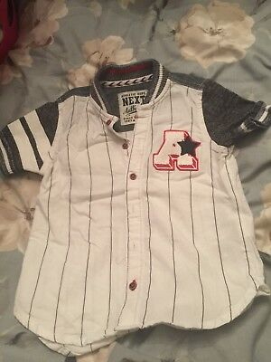 Next baseball shirt a* grey and white 18-24 months