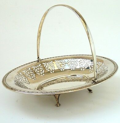 Silver Fruit Bowl Or Cake Dish Oval Pierced Form With Swing Handle By Ctb