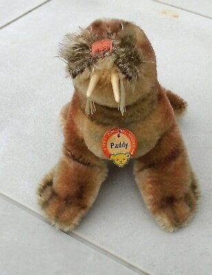"1960s Steiff  Mohair ""Paddy"" Walrus in Upright Sitting Position w/Name Tag-LOOK!"