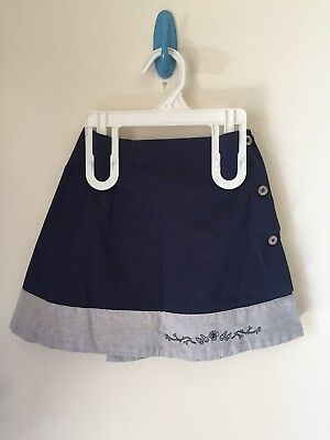 Detailed Jacardi Toddler Blue with Grey Stripe Button Summer Skirt 4YR Girl