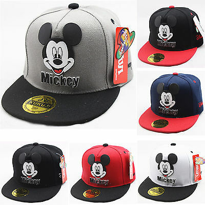 Kids Boy Girl Mickey Mouse Cartoon Baseball Cap Adjustable Hip Hop Snapback Hat