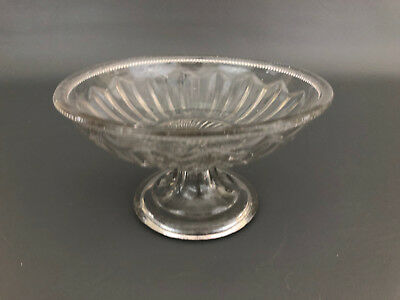 Antique VICTORIAN clear pressed flint glass compote 1840's 1850's