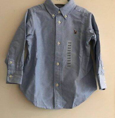 Bnwt Polo Ralph Lauren Boys/children/kids Long Sleeve Oxford Shirt In Blue