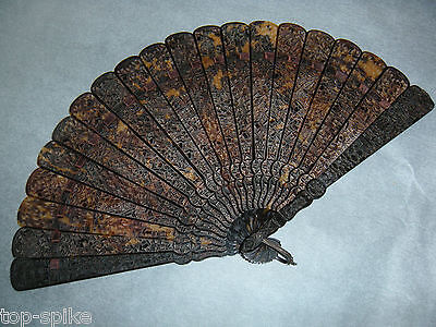 """Antique Chinese Carved Faux Tortoise Shell """"Brise"""" Fan Early 1800's Qing Dynasty"""