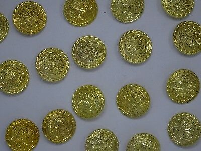 Vtg Gold Rounded Shank Buttons with Raised Floral Design 35mm Lot of 5 B95-6