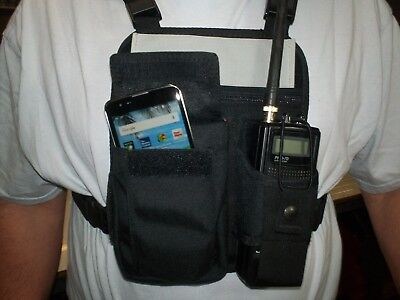 "NEW 4- point ""ID"" radio chest harness with Cell Phone pocket. Made in USA."