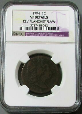 1794 United States Liberty Cap Flowing Hair Cent Coin Ngc Very Fine Details