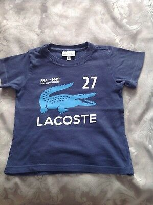 Lacoste Boys t-shirt in Navy Age 2 Great Condition 100% Genuine