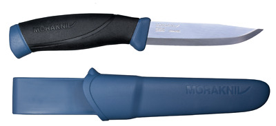 Morakniv Companion Fixed Blade Knife, Rubber Handle - Navy Blue