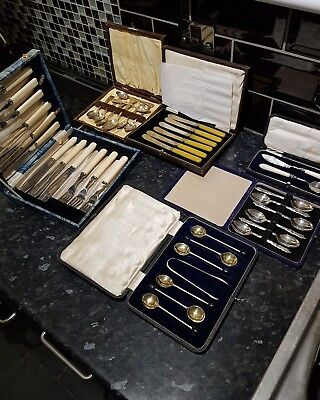Job lot of vintage silver plated cutlery in there original boxes .SEE MY PHOTOS