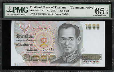 1992 Thailand King Rama IX 1000 Baht Queen's Birthday Banknote Gem Unc 65
