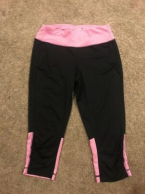 Tek Gear Women's Athletic Running Sport Yoga Capri Leggings M Black Pink