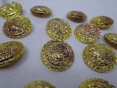 Vintage Gold Rounded Shank Buttons with Dark Shadows 35mm Lot of 6 B101-6