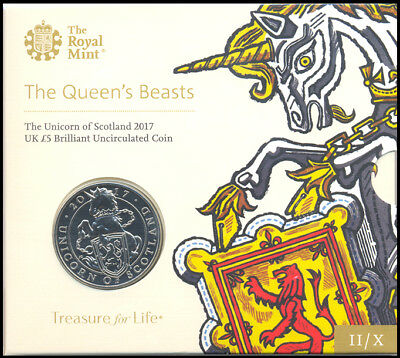 2017 Queens Beasts Unicorn Of Scotland BU £5 Five Pound Coin Pack Royal Mint OGP