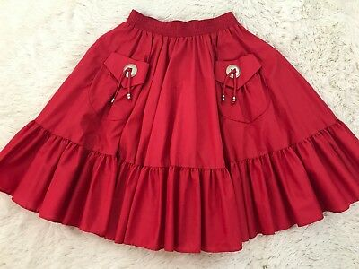 Malco Modes Womens Small Square Dance Skirt Red Full Circle Silver Buckles