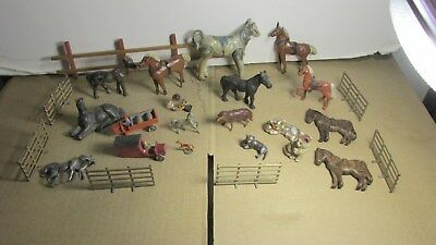 Animal Toys Vintage Old Figure Toy Horses Cats Metal Fences  Antique