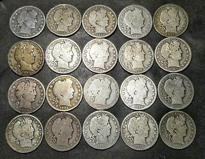 Barber Half Dollar Roll of 20 Coins (Lot 3)