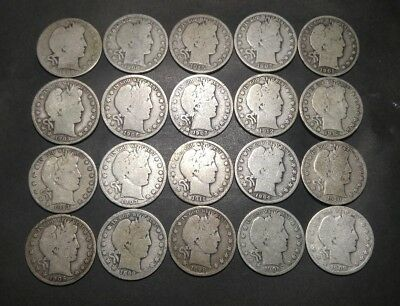 Barber Half Dollar Roll of 20 Coins (Lot 6)