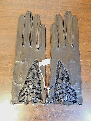 Black Kid Vintage Leather Gloves With Floral Cutout Decorations, Sizer 6-3/4