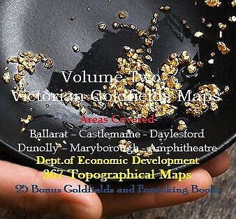 CD - Victorian Goldfields - Vol 2 Central Area - 367 Prospecting Maps + 25 Books