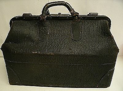 "Vintage black Leather Medical Doctors Bag 18"" x 10"" x 11.5"" tall"