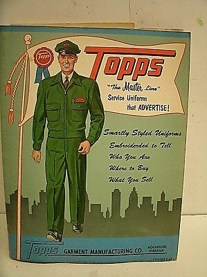 1963 Gas Station Attendant Cap Uniform Coverall TOPPS Garmet CATALOG w/ SAMPLE